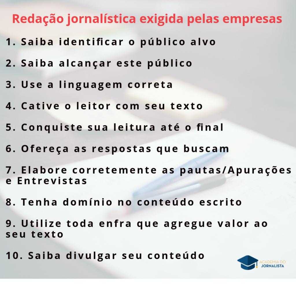 A Redação Jornalística exigida pelas Empresas