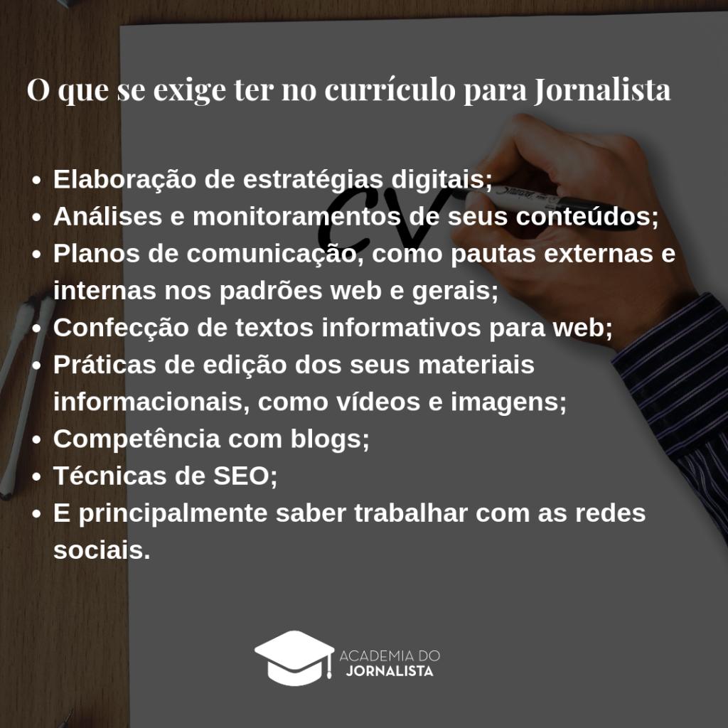 Saiba o que se exige no currículo para Jornalista nos portais de vagas