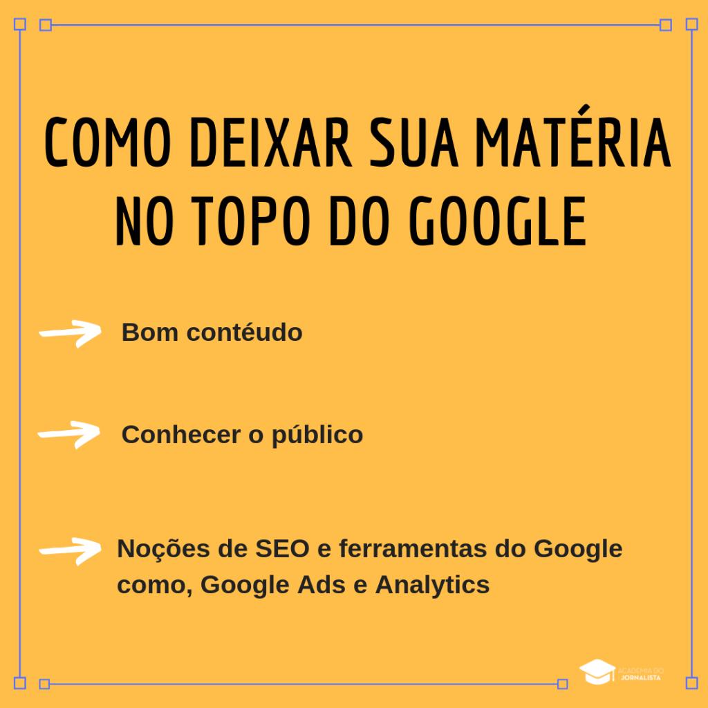 Como deixar sua matéria no topo do Google
